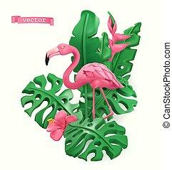 flaming, sztuka, plastelina, wektor, leaves., 3d, tropikalny, objects., concept., lato, ilustracja, czas