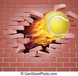 Flaming Tennis Ball Breaking Through Brick Wall