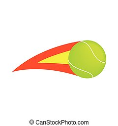 Flaming tennis ball icon, isometric 3d style