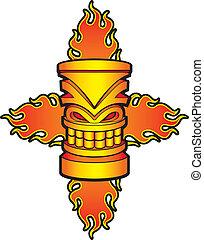 Flaming Tiki - A cartoon tiki sculpture with flames.