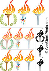 Flaming Torch - Stylized illustration of a flaming torch in...