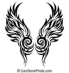 Flaming wings tribal tattoo