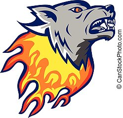 Flaming Wolf Head on Fire Isolated