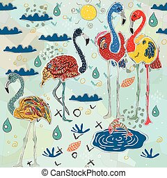 flamingo., εικόνα , ποιότητα , work., πρότυπο , χέρι , seamless, μετοχή του draw , σκανδινάβος , μικροβιοφορέας , style., χαριτωμένος