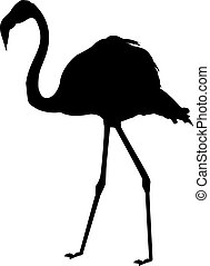 Flamingo - a silhouette of a flamingo on a neutral ...