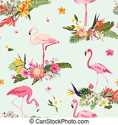 Flamingo Bird and Tropical Flowers Background. Retro Seamless Pattern in vector