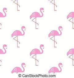 Flamingo Bird Background. Retro Seamless Pattern in Vector