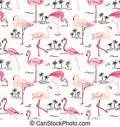Flamingo Bird Background - Retro seamless pattern in vector