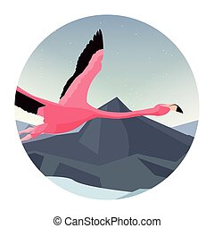 flamingo bird flying in the landscape