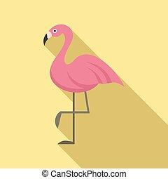 Flamingo bird icon, flat style
