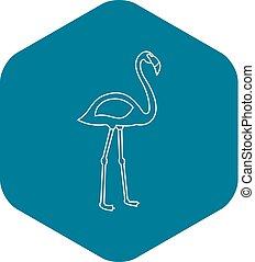 Flamingo bird icon, outline style