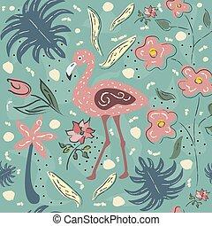 Flamingo Bird Seamless Pattern. Vector illustration