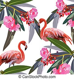 Flamingo birds and tropic flowers Vector card. Tropic Exotic...