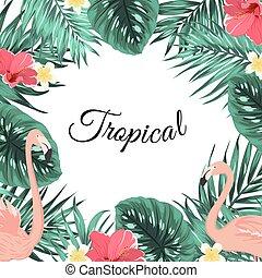 flamingo, bladeren, tropische , palm, jungle, bloemen, frame