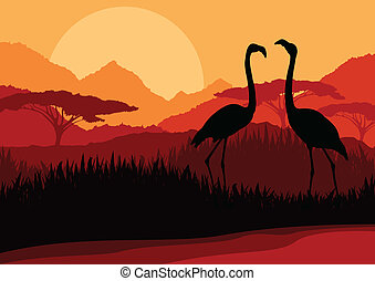 Flamingo couple in Africa wild nature mountain landscape background illustration vector