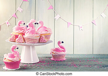 Flamingo cup cakes