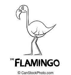 flamingo, esboço, -, ilustração, vetorial, caricatura