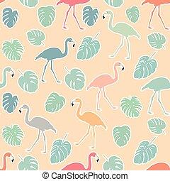 flamingo, färgrik, mönster, seamless, leaves., hand, oavgjord, monstera