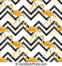 flamingo, fundo, ouro, mão, chevron, desenhado