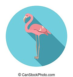 Flamingo icon in flat style isolated on white background. Bird symbol stock vector illustration.