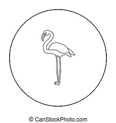 Flamingo icon in outline style isolated on white background. Bird symbol stock vector illustration.