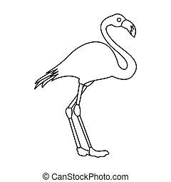Flamingo icon, outline style