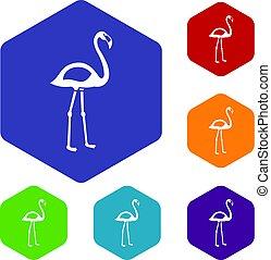 Flamingo icons set hexagon
