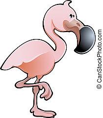flamingo, illustratie, schattig, vector, roze