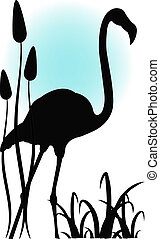 Flamingo in water - Outline of a flamingo in water