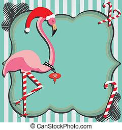 flamingo, kerstmis kaart