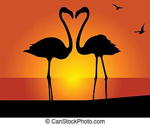 Flamingo. Kiss - Silhouette of the flamingo on a background...
