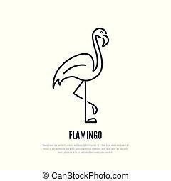 Flamingo line icon. Wild bird symbol.