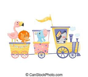 flamingo, nijlpaard, rijden, illustratie, achtergrond., leeuw, vector, wasbeer, witte , train.