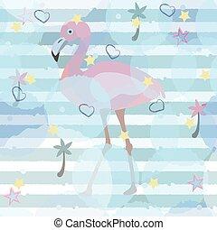 Flamingo on stripped background