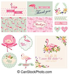 Flamingo Party Set - for Wedding, Bridal Shower, Party...