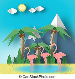 flamingo., paysage, rose