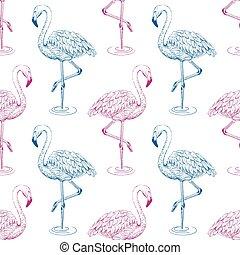 Flamingo sketch seamless pattern, vector illustration.