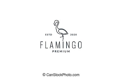 flamingo stand up line minimalist logo vector illustration design