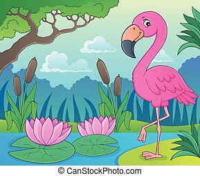 Flamingo topic image 4 - eps10 vector illustration.
