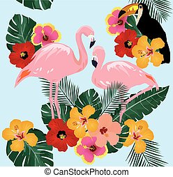 flamingo toucan tropical