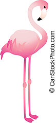 A vector illustration of a cute pink flamingo bird