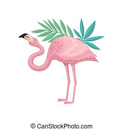 Flamingo with gentle pink feathers and green leaves of palm...