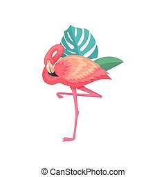 Flamingo with leaves of tropical plants. Beautiful exotic...