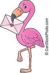 Flamingo with love letter theme 1