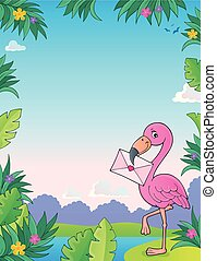 Flamingo with love letter theme 3