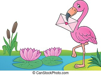 Flamingo with love letter theme 4