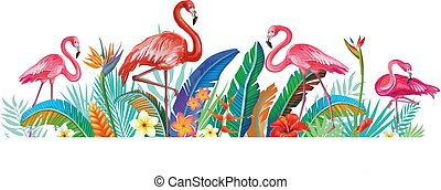 Flamingoes with tropical flowers