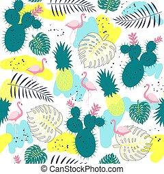 flamingor, mönster, tropisk, planterar, seamless