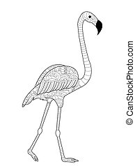 Flamingos coloring vector for adults