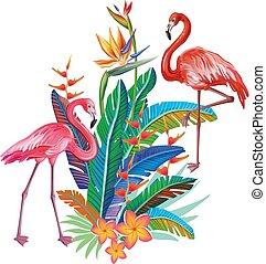 flamingos, com, arranjo, de, flores tropicais
